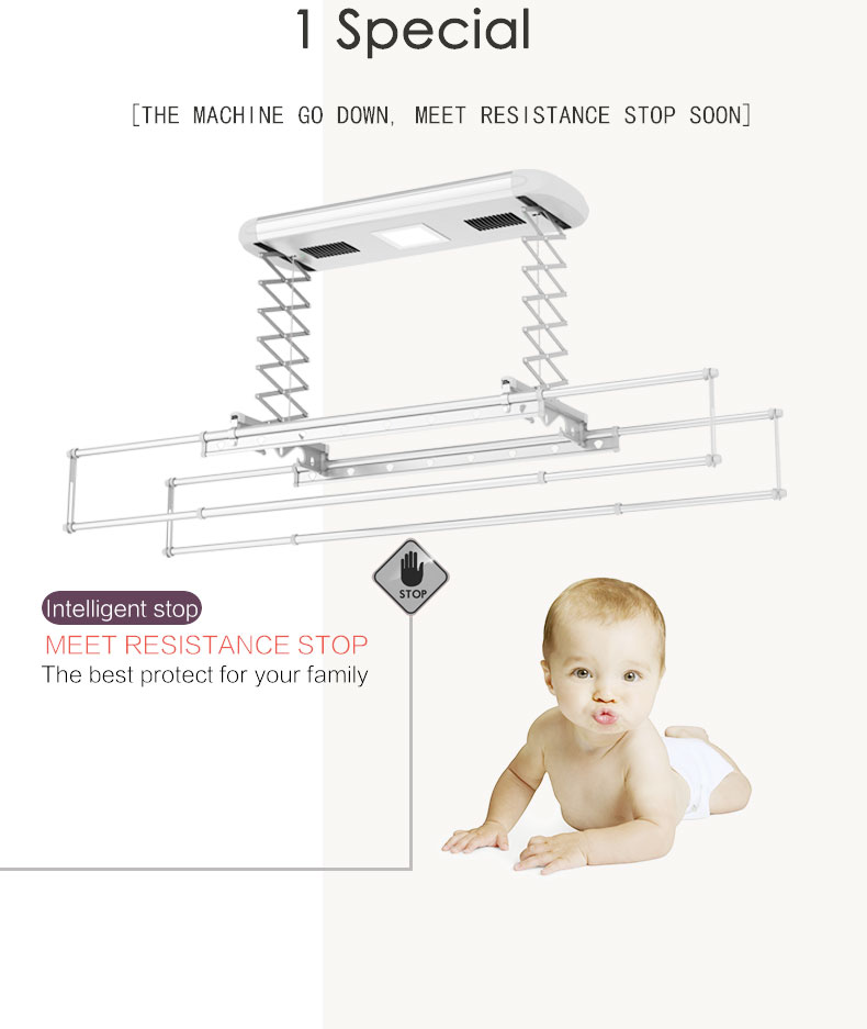 Auto Stop When Hit Obstacle Electric Clothes Drying Rack Hanger