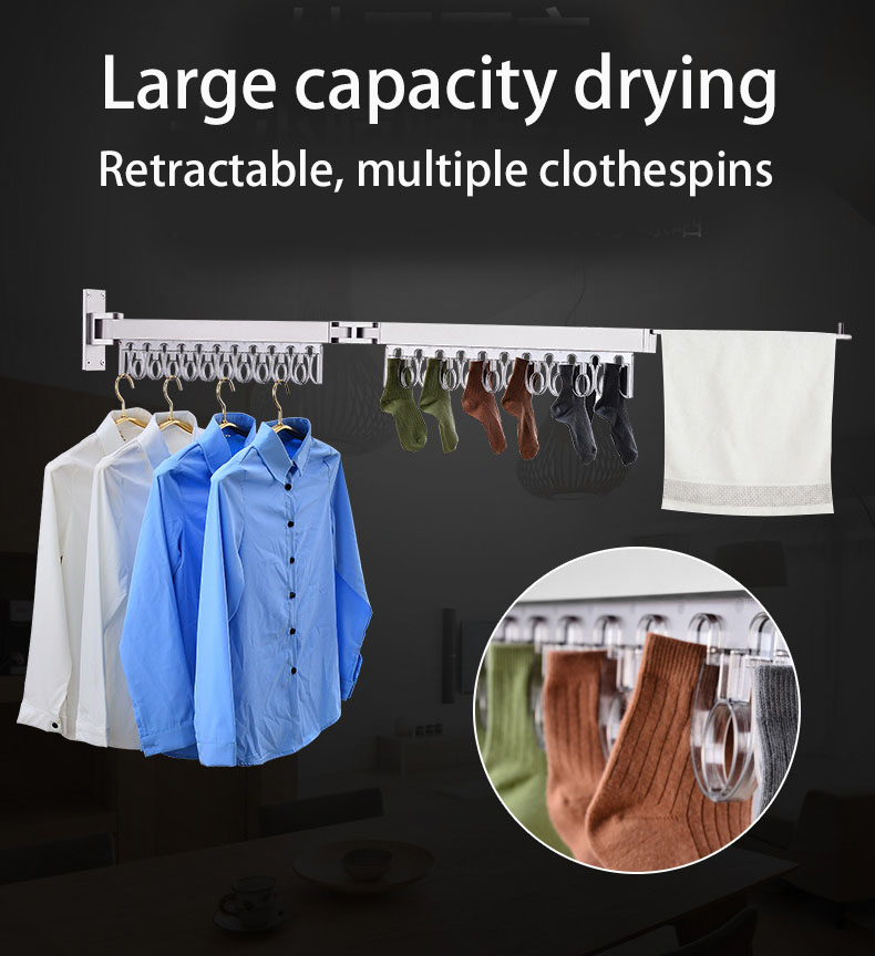 Wall mounted retractable clothes hanger clothes rack