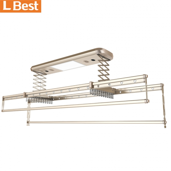 Auto Cloth Drying Air Ceiling Electric Remote Automatic Lifting Clothes Drying Rack With UV Light Fans Led Lighting
