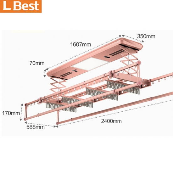 Automatic Clothes Rack Electric Ceiling Mounted Lifting Clothes Hanger With Voice Control