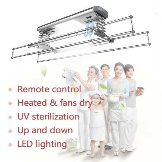 Extendable rods ceiling mounted folding cloth clothes hanger